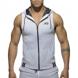 AD355 - SLEEVELESS LOOP-MESH HOODY