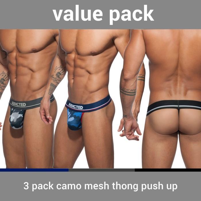 AD701P 3 PACK CAMO MESH THONG PUSH UP